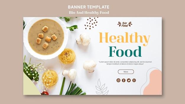 Plantilla de banner con comida saludable