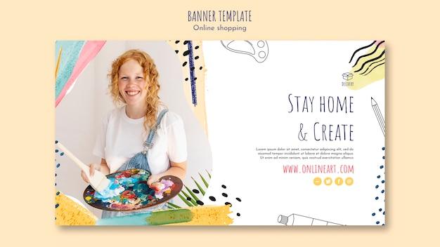 Plantilla de banner de compras en línea de chica pelirroja artista