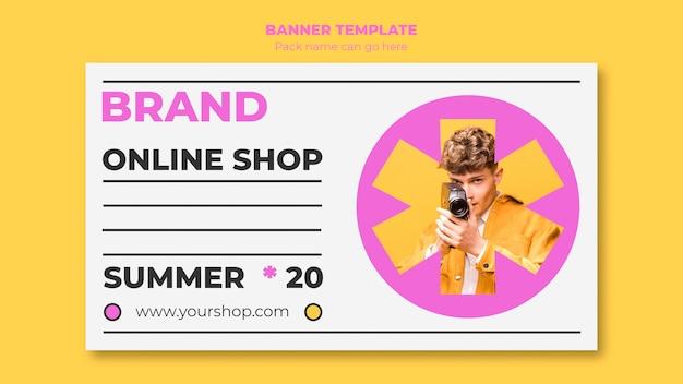 Plantilla de banner de compras en línea de verano con foto