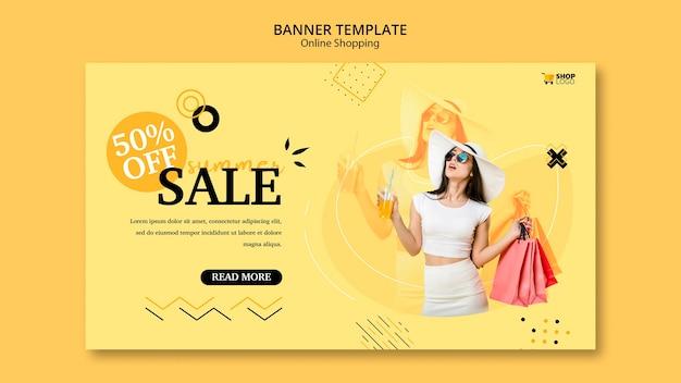 Plantilla de banner las compras en línea