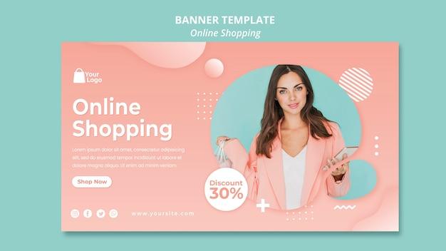 Plantilla de banner con compras en línea