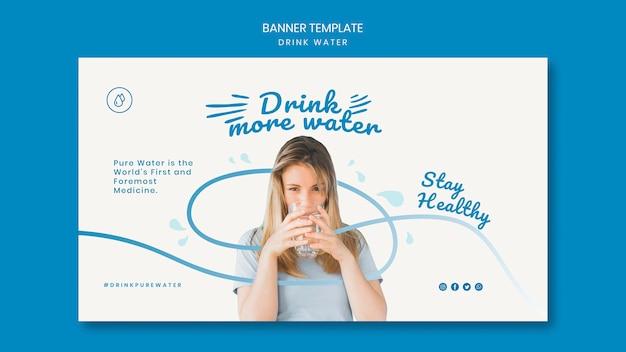 Plantilla de banner de concepto de agua de bebida