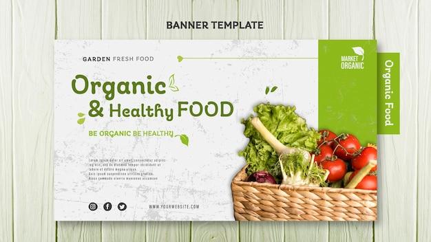 Plantilla de banner de concepto de alimentos orgánicos