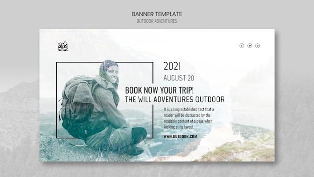 Plantilla de banner de concepto de aventuras al aire libre