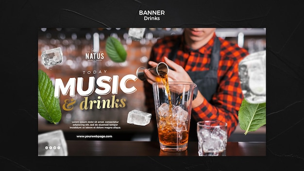 Plantilla de banner de concepto de bebidas