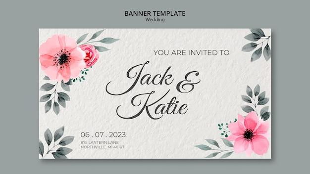 Plantilla de banner de concepto de boda
