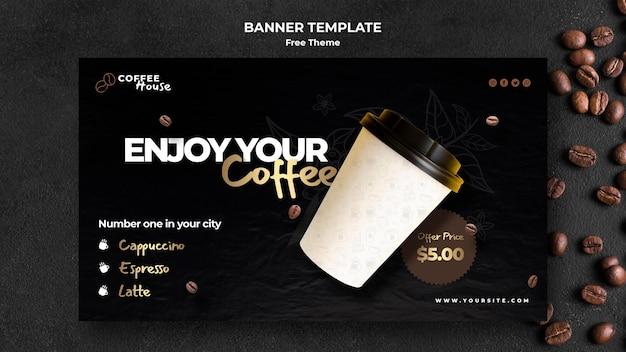 Plantilla de banner de concepto de café