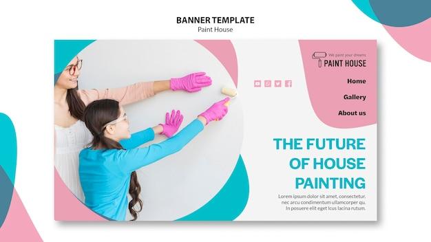 Plantilla de banner de concepto de casa de pintura