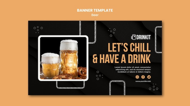 Plantilla de banner de concepto de cerveza