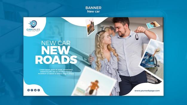 Plantilla de banner de concepto de coche nuevo
