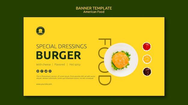 Plantilla de banner de concepto de comida americana