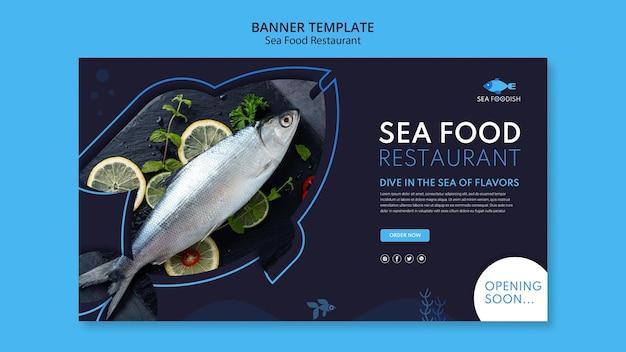 Plantilla de banner de concepto de comida de mar