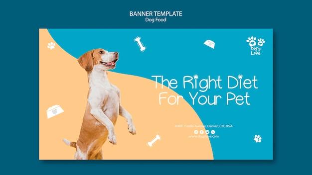 Plantilla de banner con concepto de comida para perros