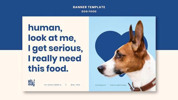 Plantilla para banner con concepto de comida para perros
