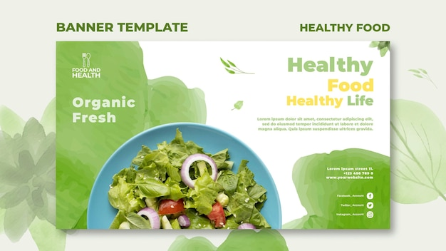 Plantilla de banner de concepto de comida saludable