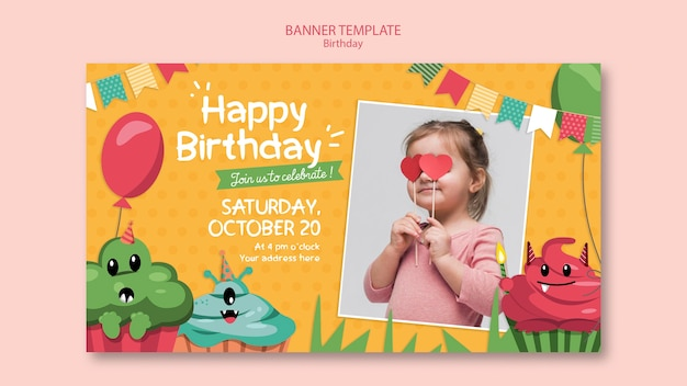 Plantilla de banner de concepto de cumpleaños
