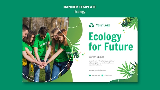 Plantilla de banner de concepto de ecología