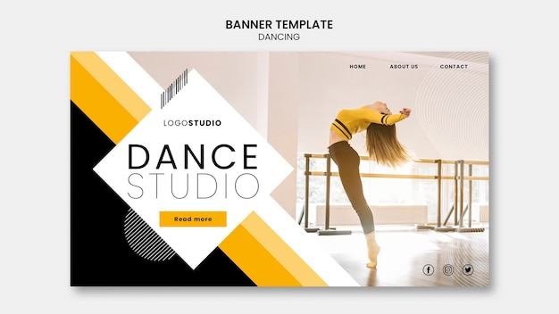 Plantilla de banner con concepto de estudio de danza