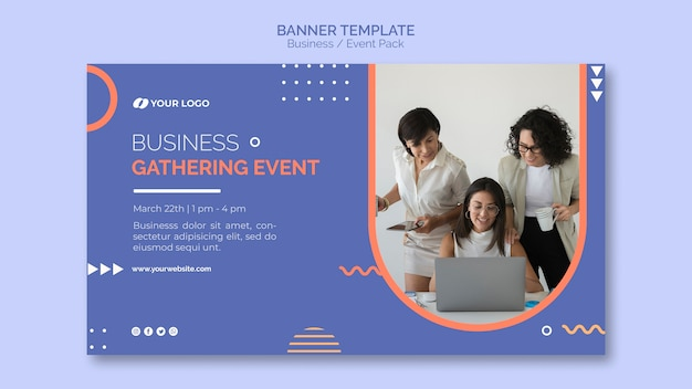 Plantilla de banner con concepto de evento empresarial