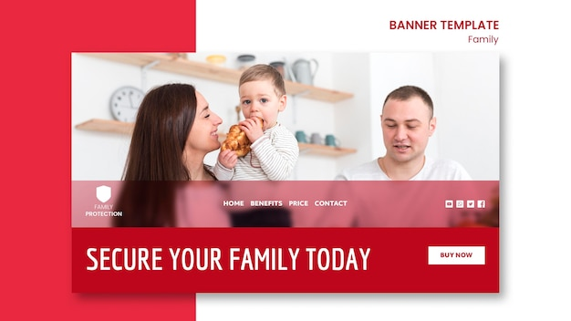 Plantilla de banner con concepto de familia