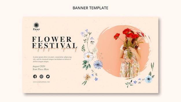Plantilla de banner de concepto de festival de flores