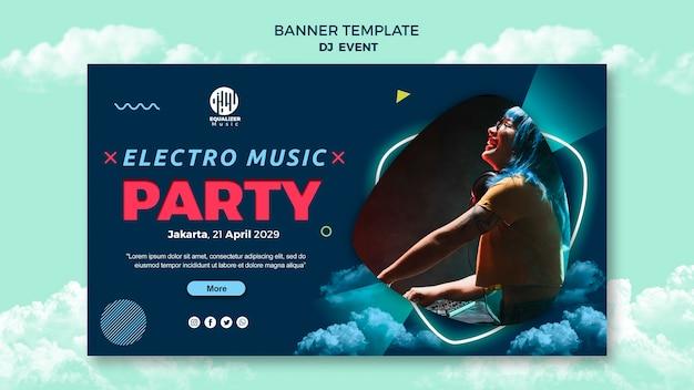 Plantilla de banner de concepto de fiesta de música