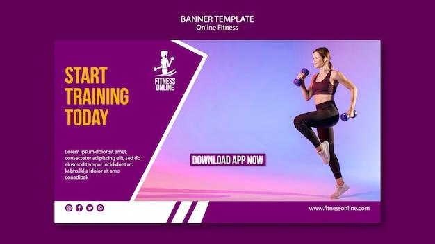Plantilla de banner de concepto de fitness en línea