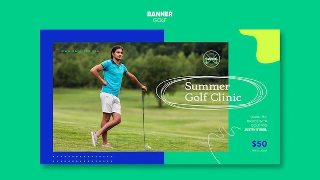 Plantilla de banner de concepto de golf
