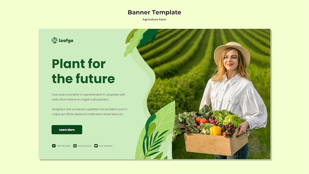 Plantilla de banner de concepto de granja agrícola
