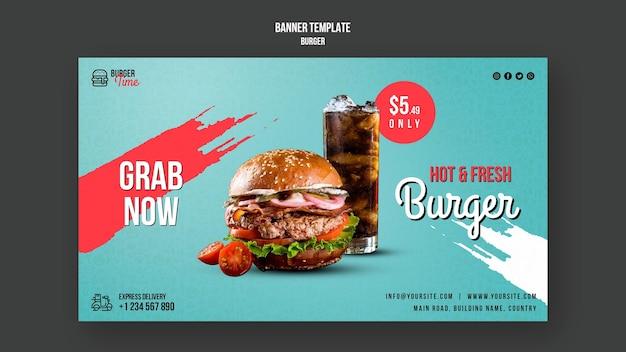 Plantilla de banner de concepto de hamburguesa