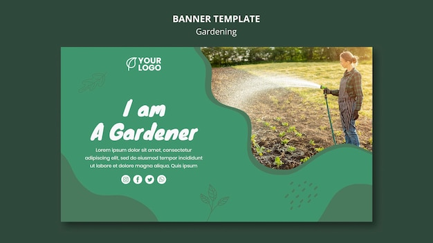 Plantilla de banner de concepto de jardinería