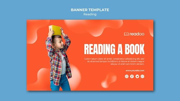Plantilla de banner de concepto de lectura