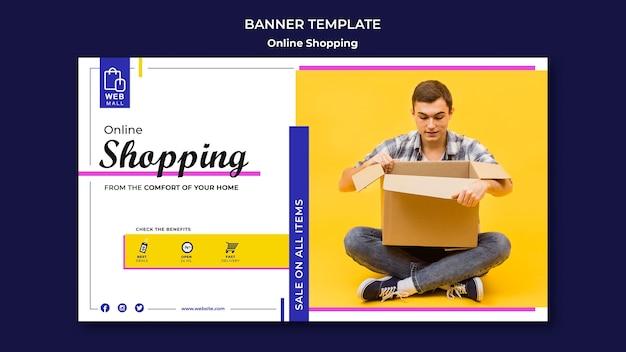 Plantilla de banner de concepto en línea de compras