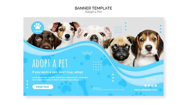 Plantilla de banner con concepto de mascota adoptiva