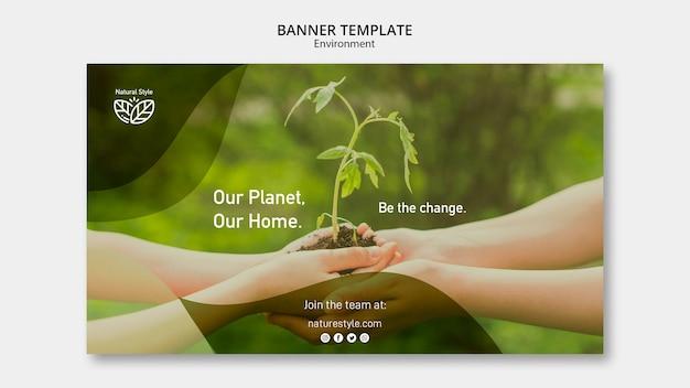 Plantilla de banner con concepto de medio ambiente