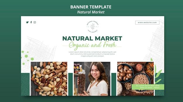 Plantilla de banner de concepto de mercado natural