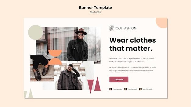 Plantilla de banner de concepto de moda hombre