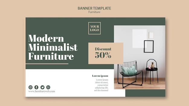 Plantilla de banner de concepto de muebles