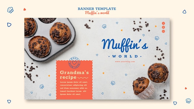 Plantilla de banner de concepto de muffins