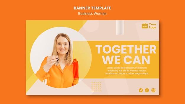 Plantilla de banner de concepto de mujer de negocios