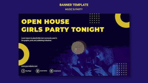 Plantilla de banner de concepto de música y fiesta