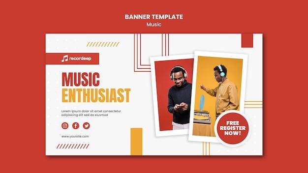 Plantilla de banner de concepto de música