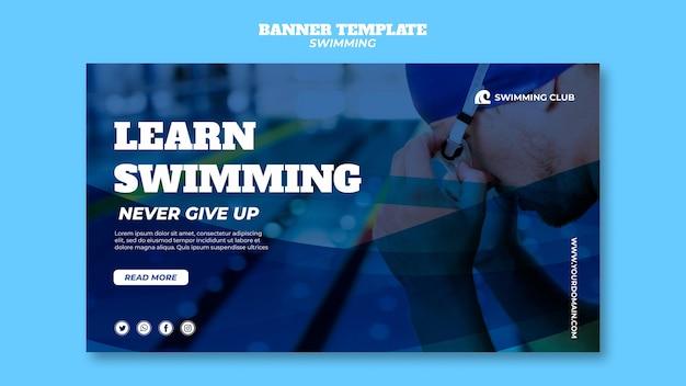 Plantilla de banner con concepto de natación