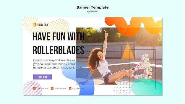 Plantilla de banner de concepto de patines en línea