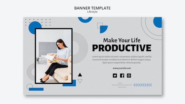 Plantilla de banner de concepto de productividad