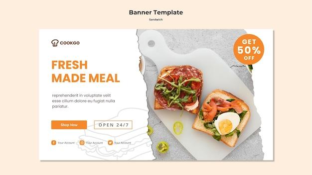 Plantilla de banner de concepto de sandwich
