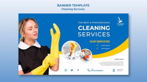 Plantilla de banner de concepto de servicio de limpieza