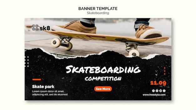 Plantilla de banner de concepto de skateboard