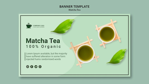 Plantilla de banner con concepto de té matcha