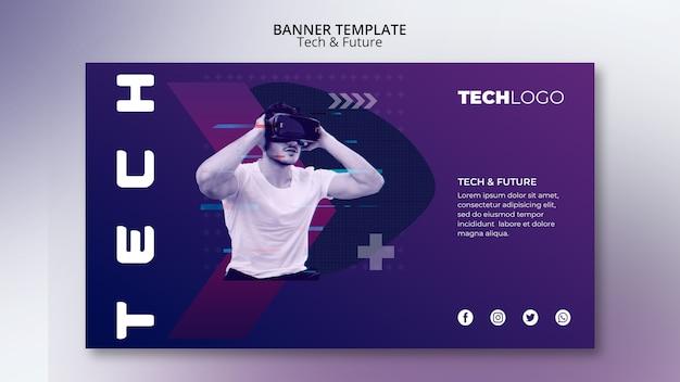Plantilla de banner con concepto de tecnología